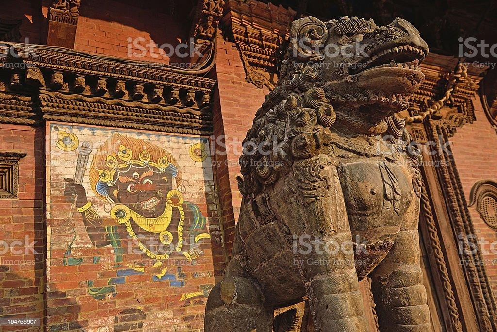 Sculptures at the durbar square, patan, nepal royalty-free stock photo