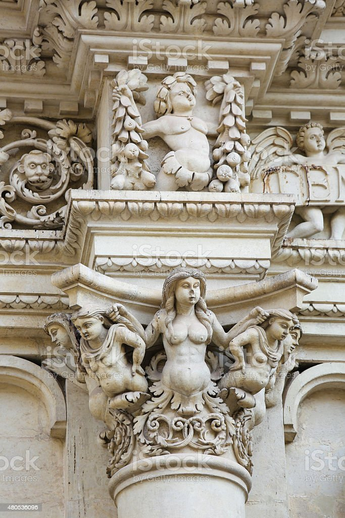 Sculptures at the Santa Croce baroque church in Lecce, Italy stock photo