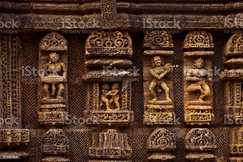 Sculptures curved out on the temple wall stock photo