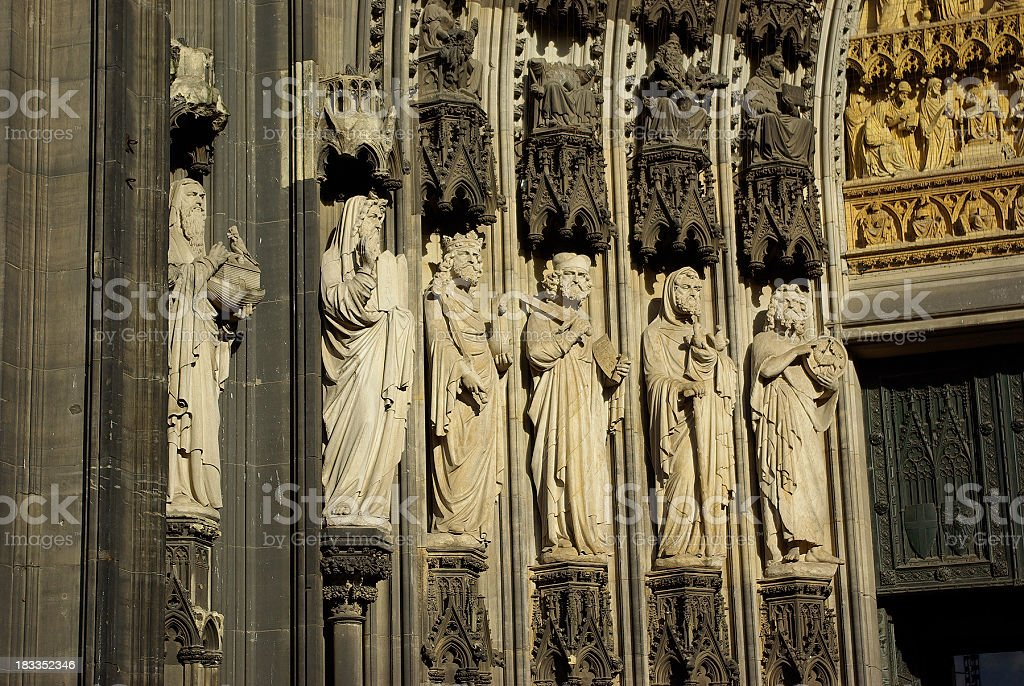 Sculptures from Cologne Cathedral stock photo