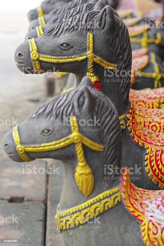 Sculptures, horse statues - in Thailand. stock photo