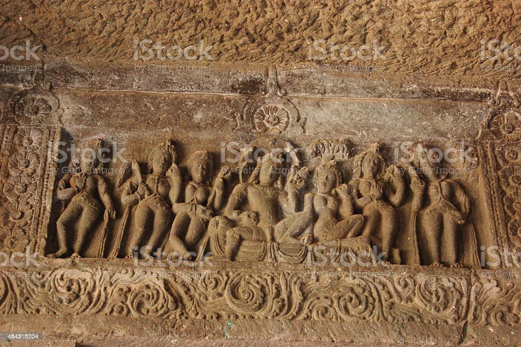 Sculptures in Ajanta caves stock photo