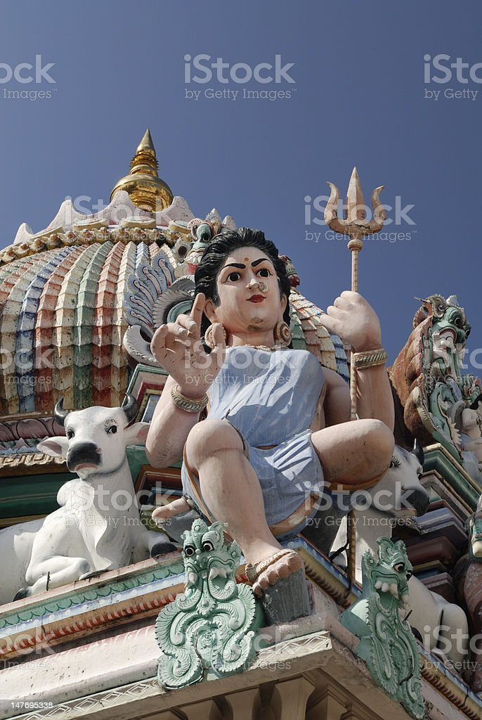 Sculptures in Sri Mariamman Temple royalty-free stock photo