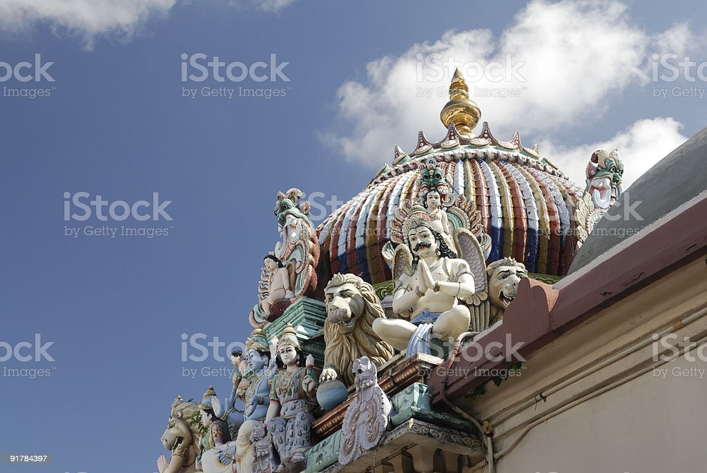 Sculptures in Sri Mariamman Temple, Singapore royalty-free stock photo