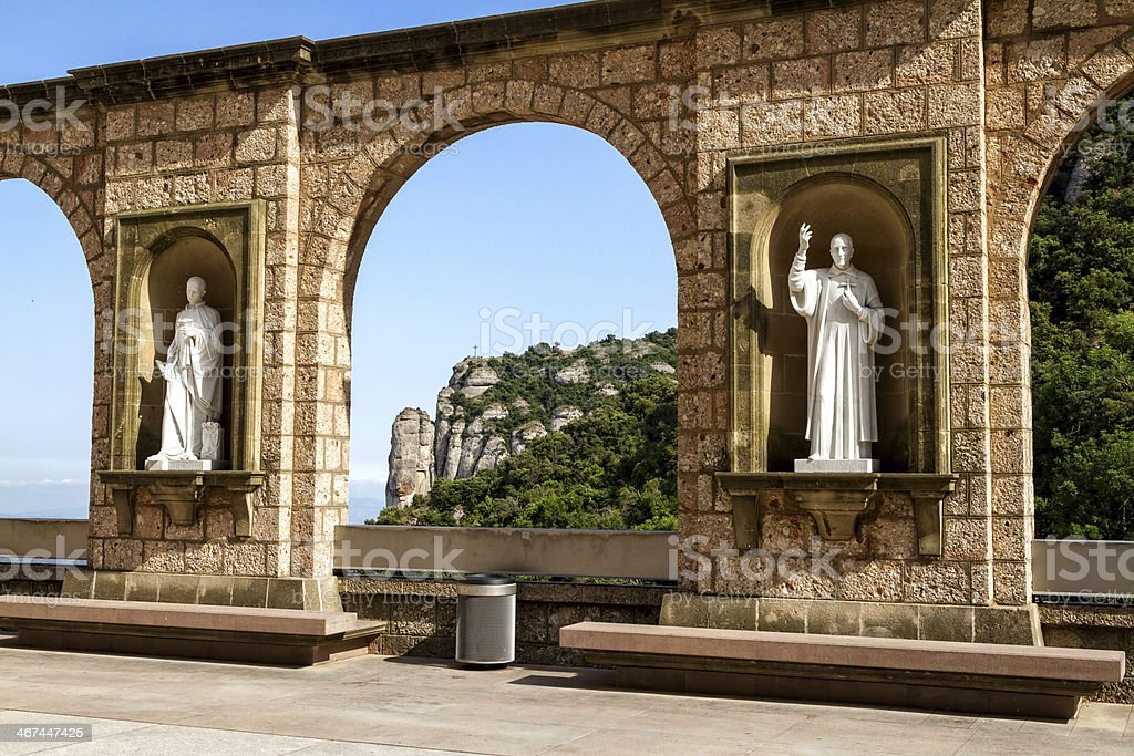 Sculptures in the cloister Montserrat Monastery stock photo