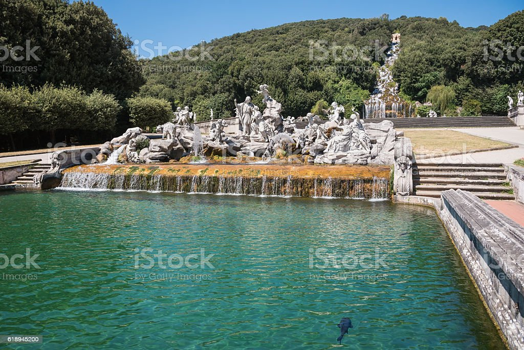 Sculptures in the park of Caserta Royal Palace stock photo