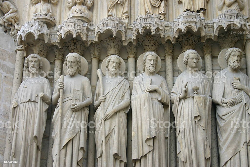 Sculptures Notre Dame Exterior royalty-free stock photo