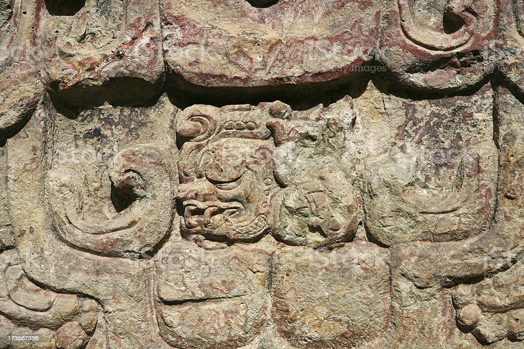 sculptures of ancient culture in Copan stock photo