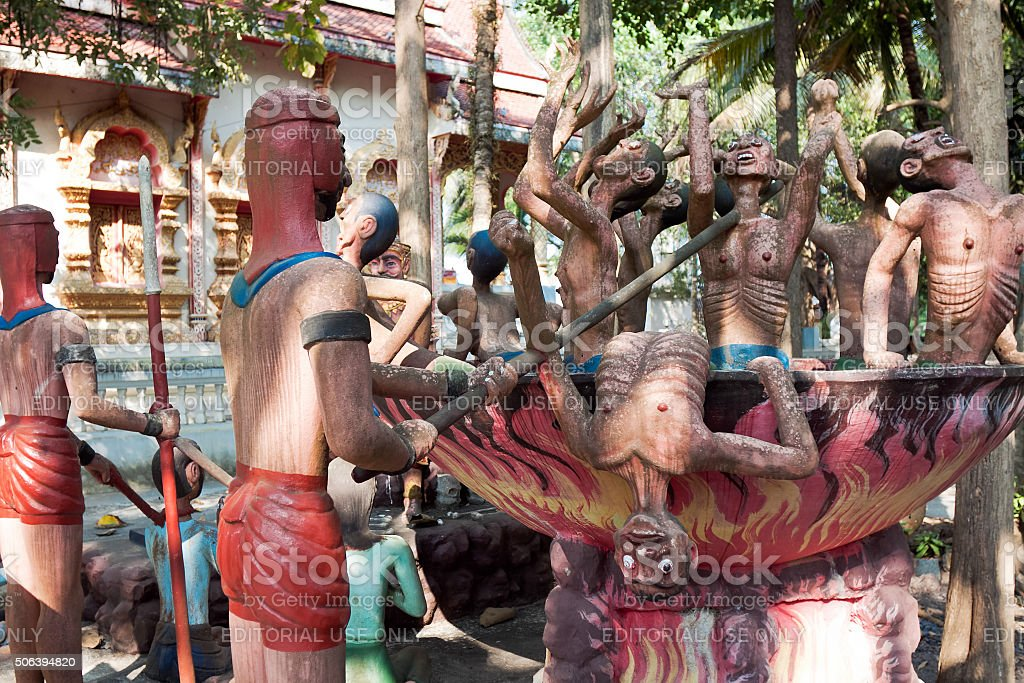 Sculptures of gods and mythical creatures in temple Nantharam stock photo