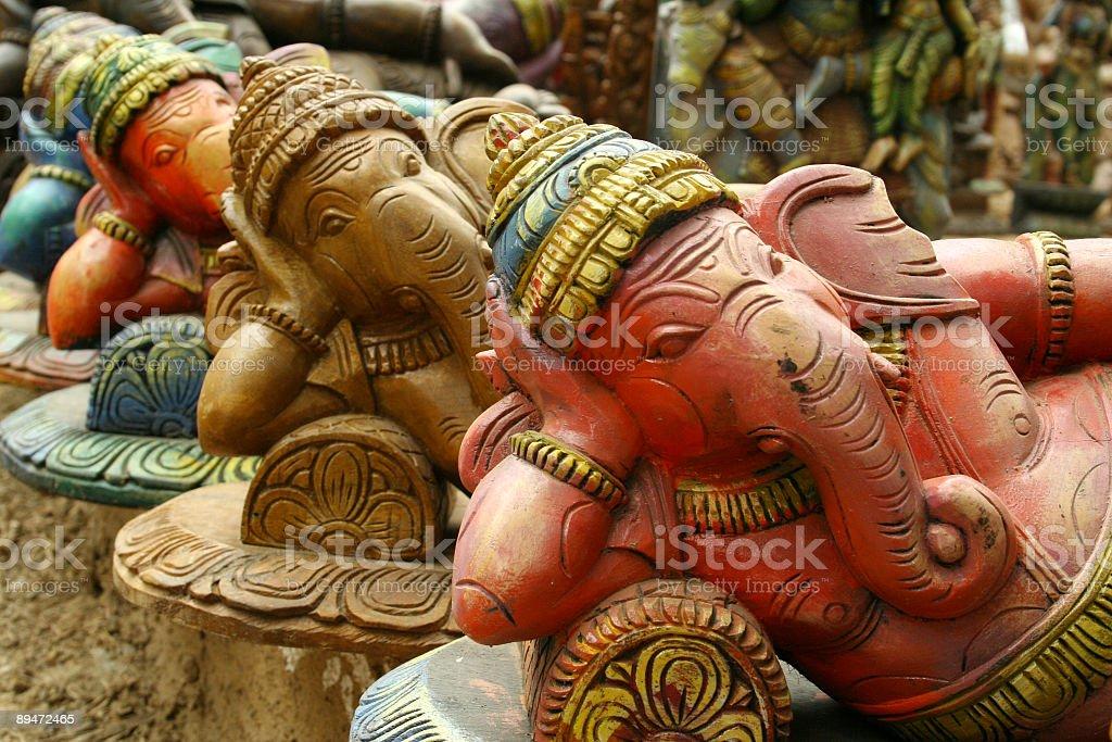 Sculptures of Hindu elephant-faced deity Ganesha stock photo