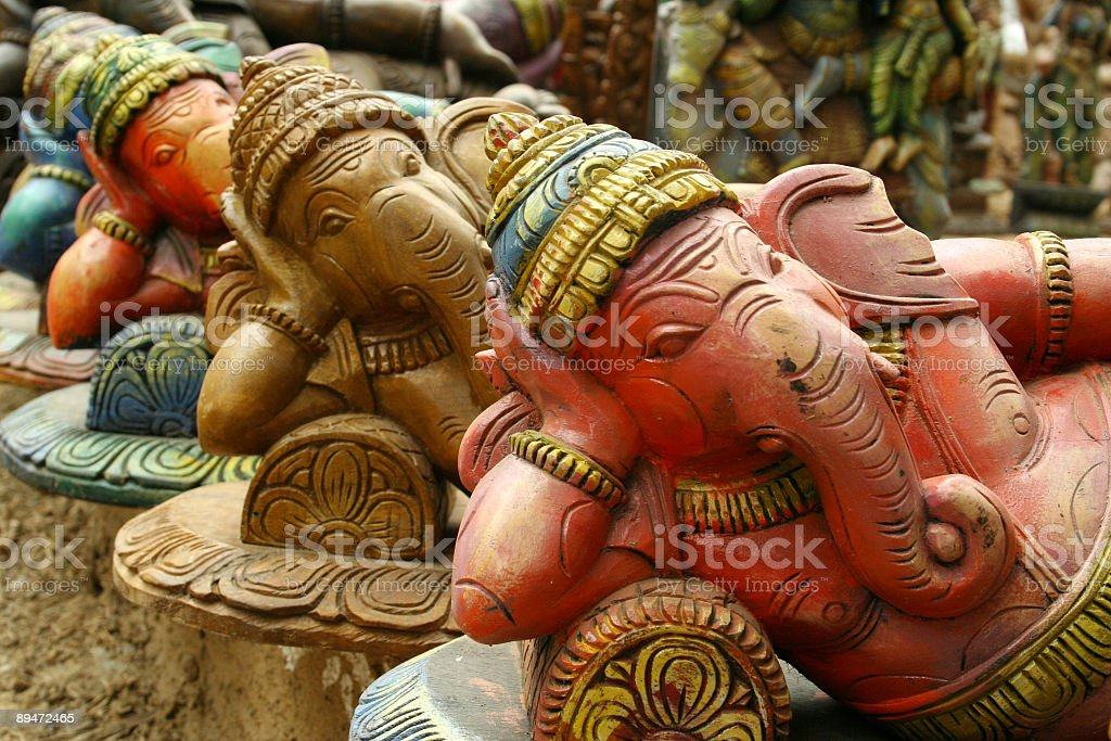 Sculptures of Hindu elephant-faced deity Ganesha stock photo