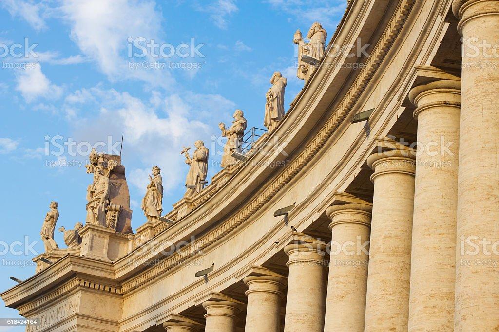 Sculptures of St Peter Basilica stock photo