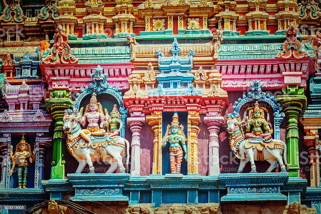 Sculptures on Hindu temple tower stock photo