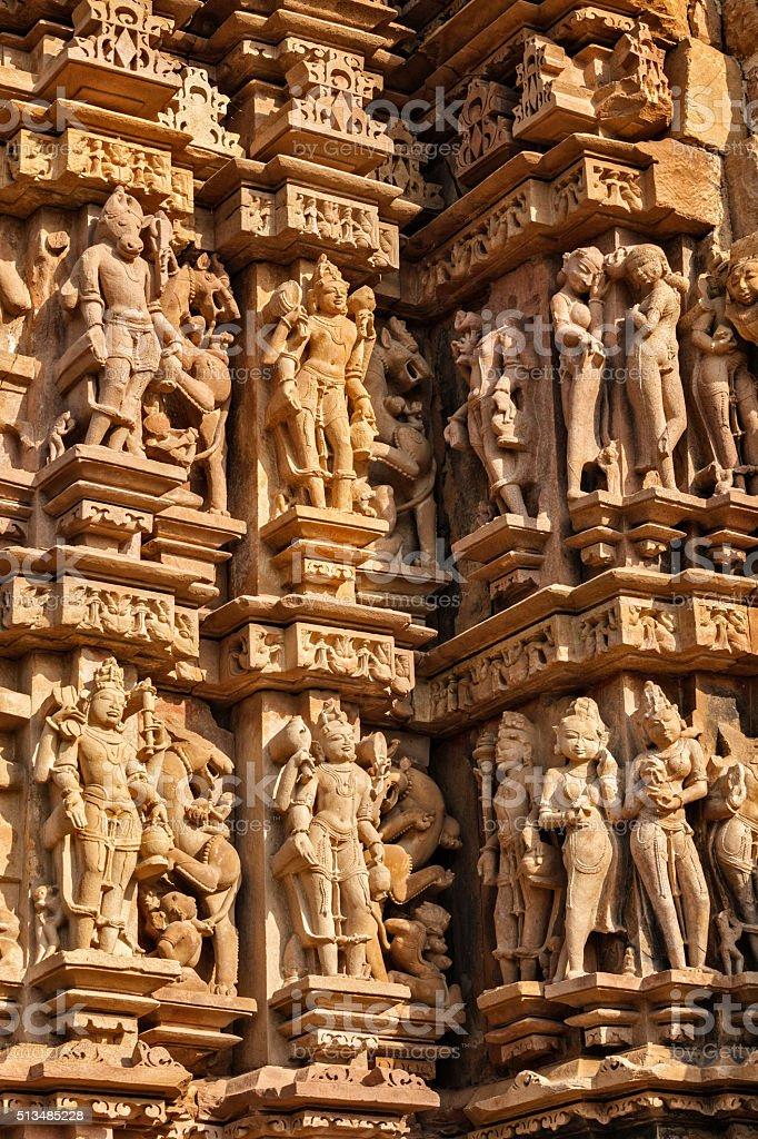 Sculptures on Khajuraho temples stock photo