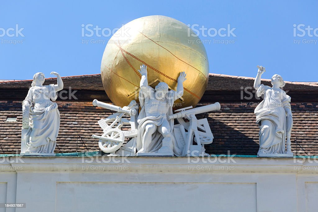 Sculptures on roof Austrian National Library royalty-free stock photo