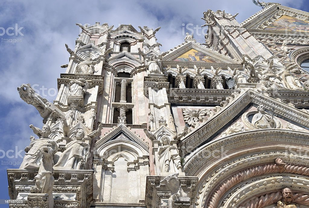 Sculptures on Siena Cathedral royalty-free stock photo