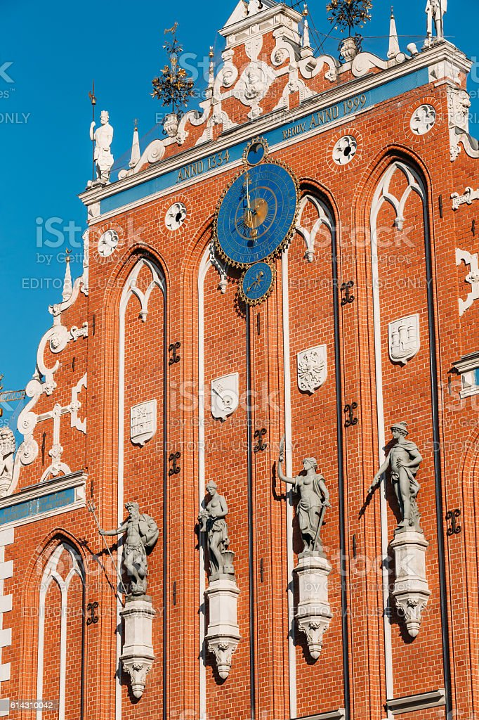 Sculptures On The Facade Of  House Of Blackheads In Riga, stock photo