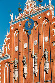 Sculptures On The Facade Of  House Of Blackheads In Riga,