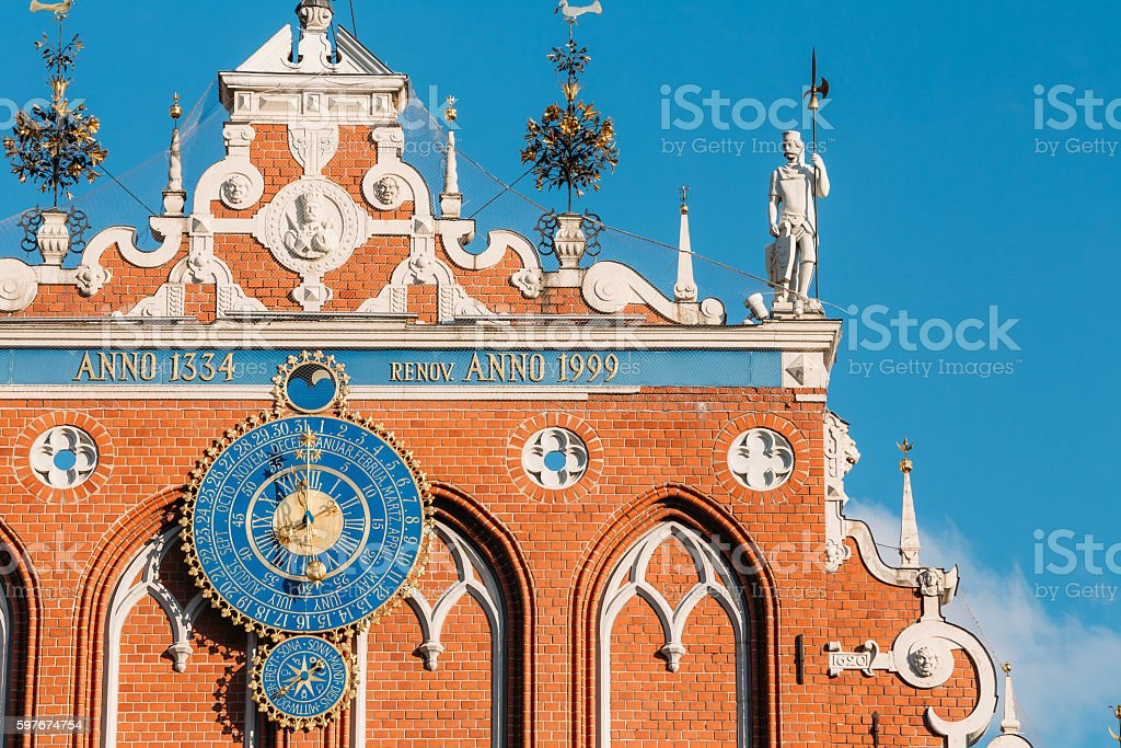 Sculptures On The Facade Of  The House Of Blackheads,  Riga, stock photo
