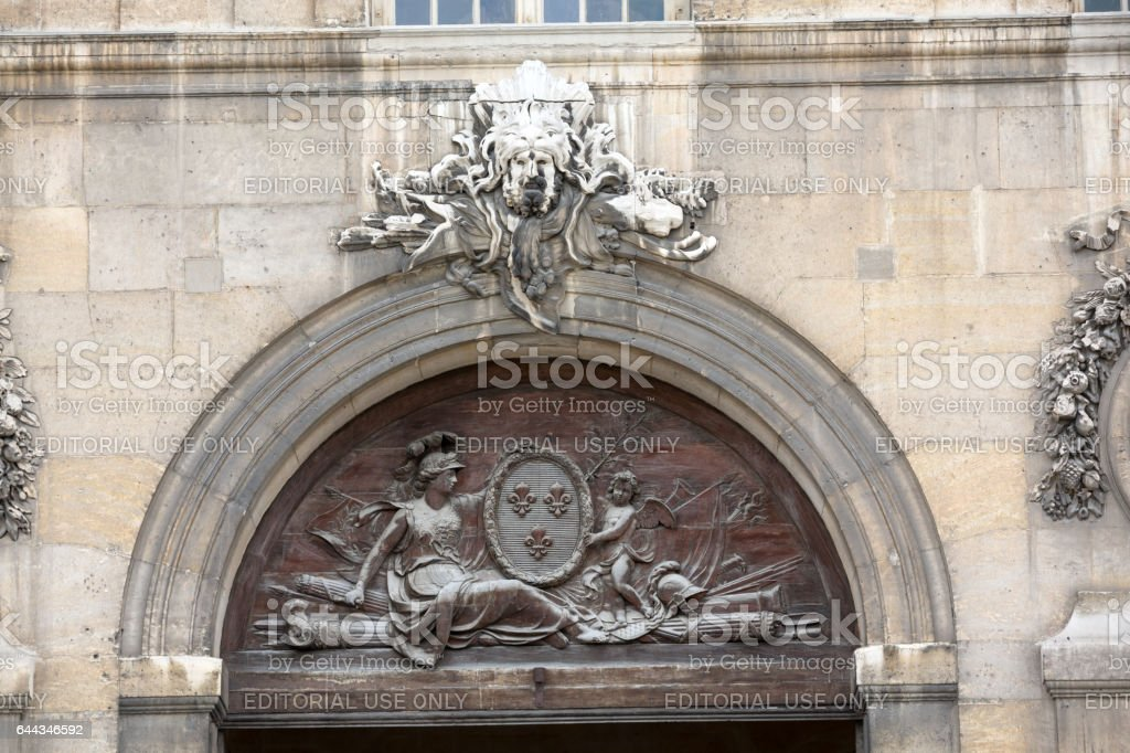 Sculptures on the facade the Hotel Les Invalides. Paris , France stock photo