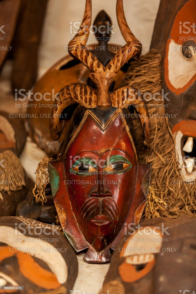 sculptures, paintings Kenya, African masks, masks for ceremonies stock photo