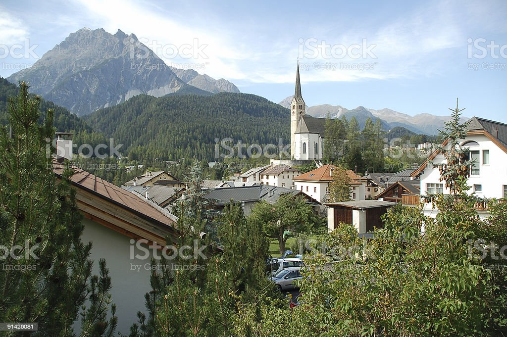 Scuol Church royalty-free stock photo