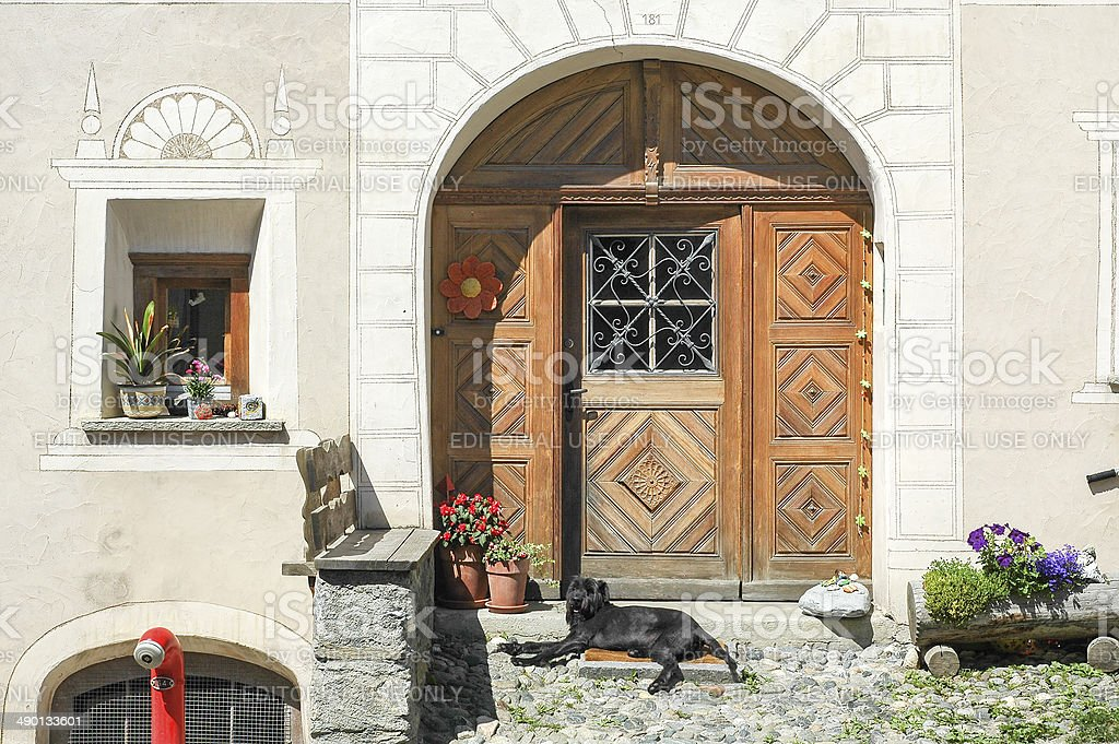 Scuol, typical village in Engadine stock photo