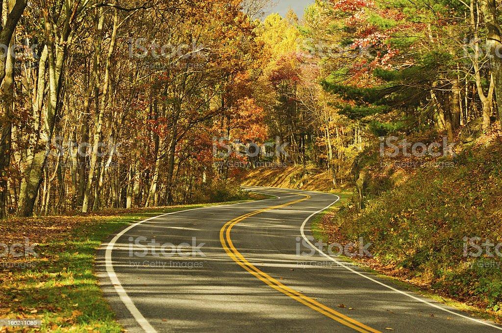 S-Curve Road, Skyline Drive Virginia stock photo