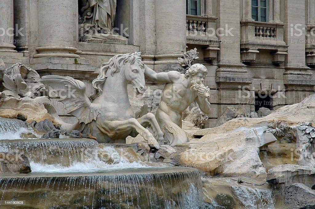 Scuulpture Of Triton & Sea Horse In Trevi Fountain royalty-free stock photo