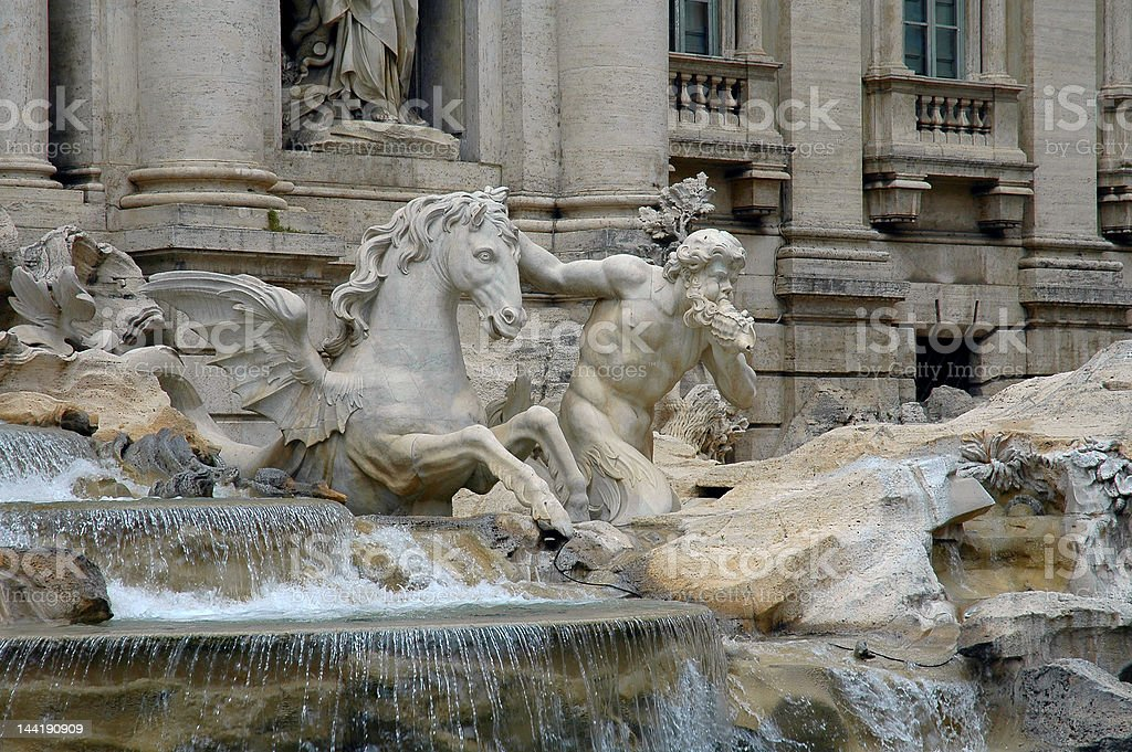 Scuulpture Of Triton & Sea Horse In Trevi Fountain stock photo
