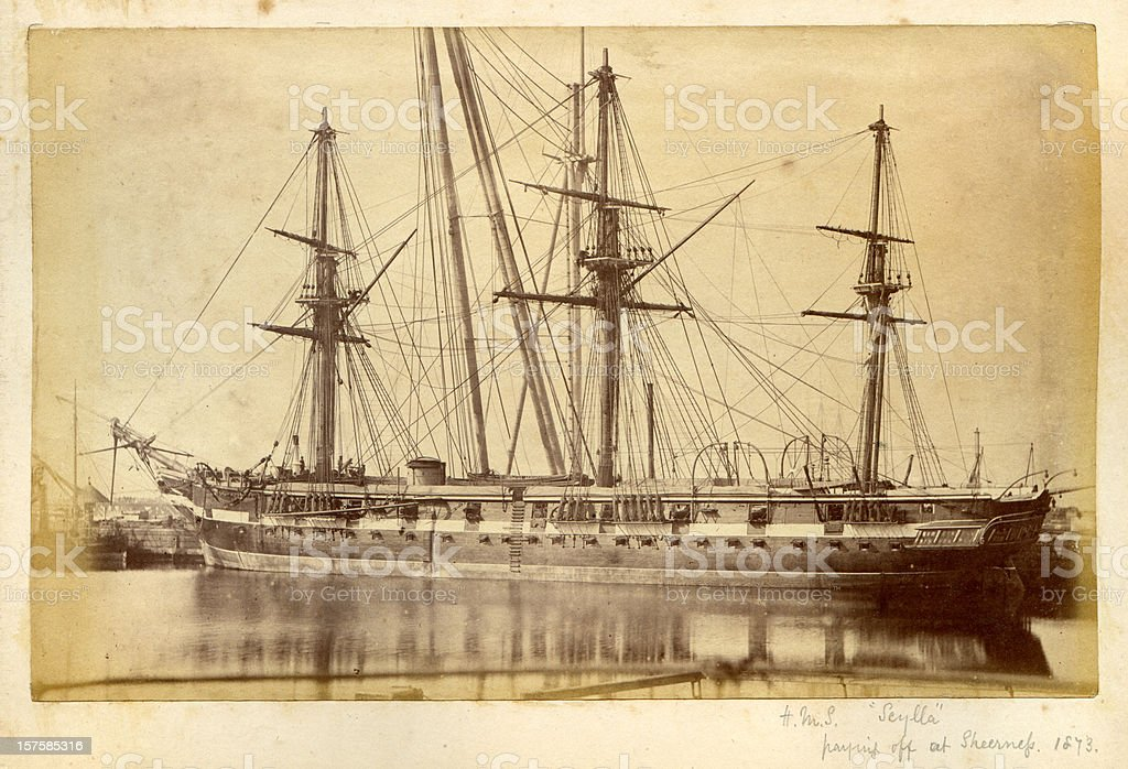 HMS Scylla - 19th Century Royal Navy Warship stock photo