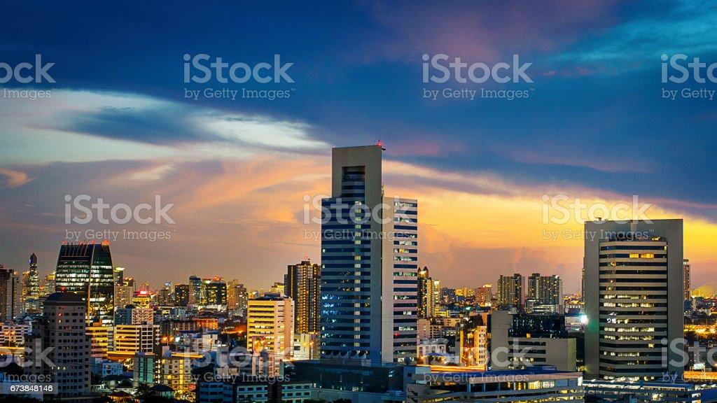 Scyscraper City Evening Sunset View Concept stock photo