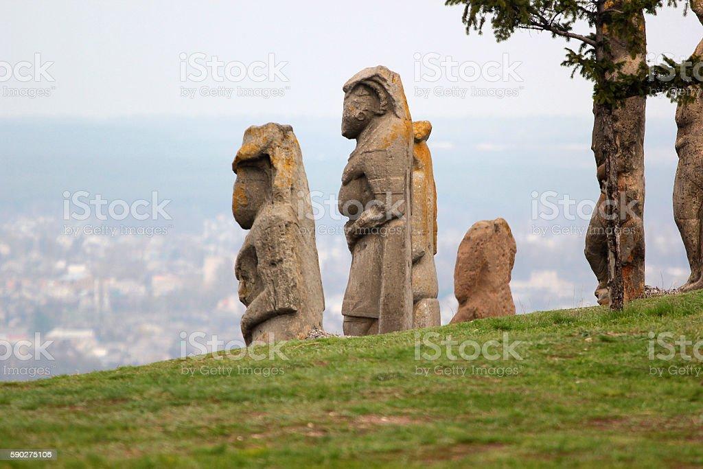 Scythian kurgan anthropomorphic stone sculptures in Izyum, Eastern Ukraine stock photo