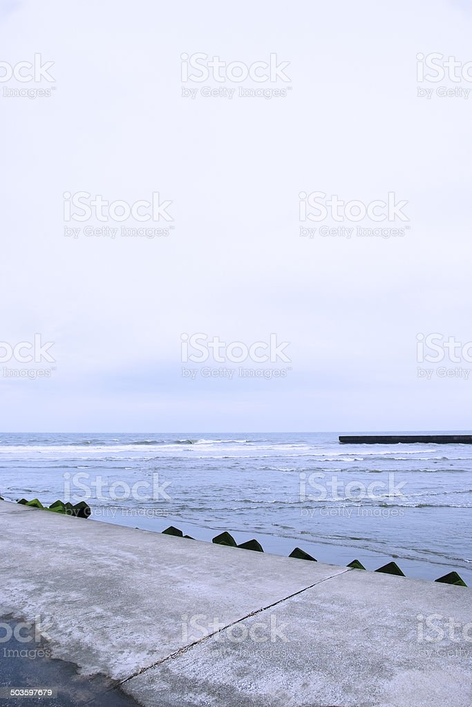 Sea after the storm with copy space royalty-free stock photo