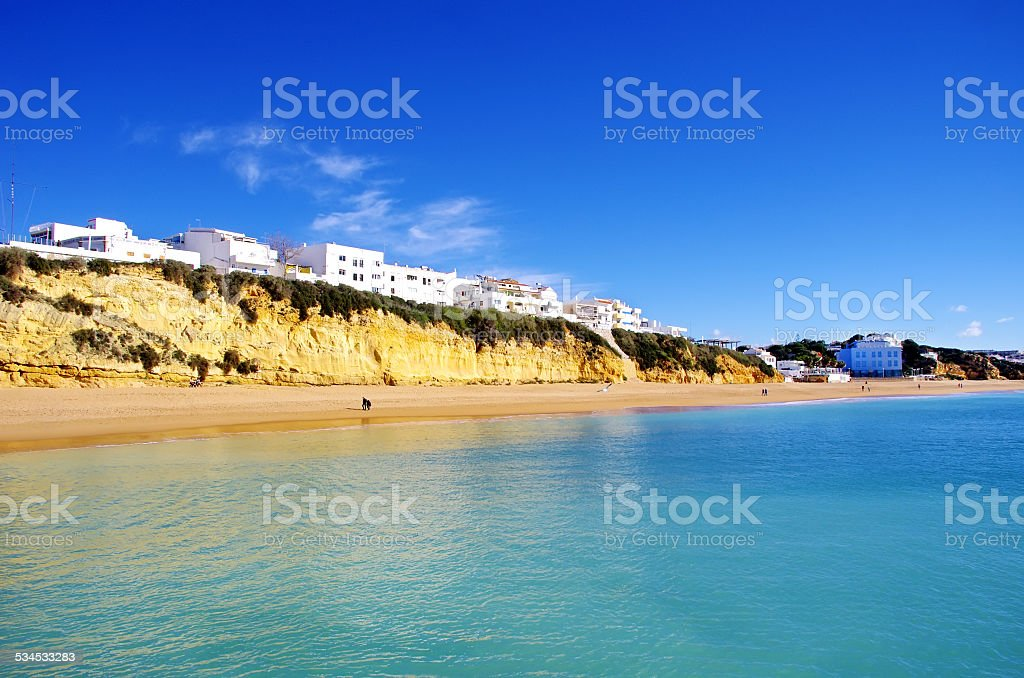 sea and beach in Albufeira. Portugal. stock photo