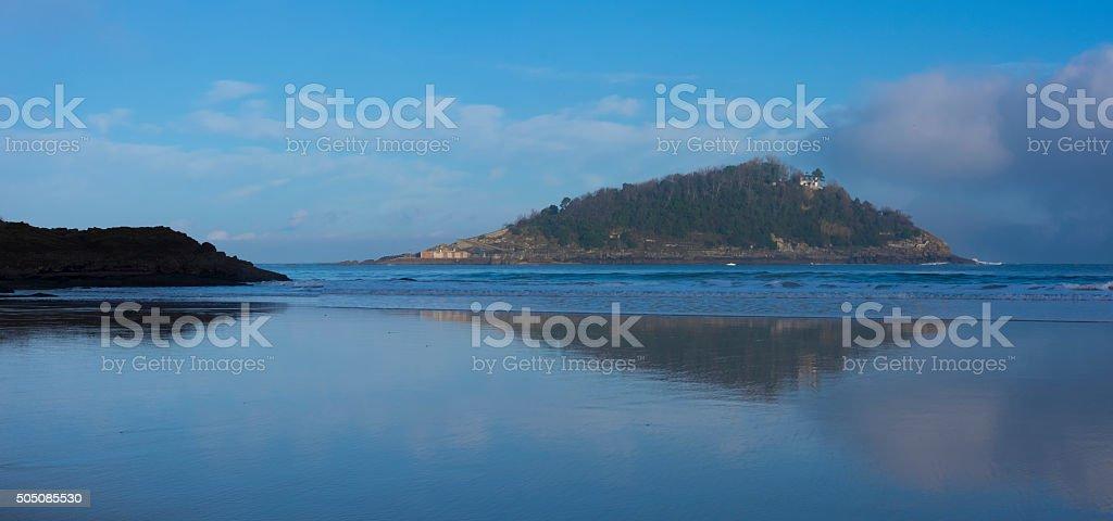 sea and beautiful island with beach stock photo