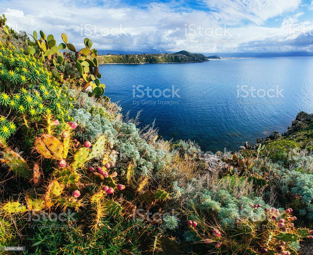 Sea and Cape Milazzo. Italy. stock photo