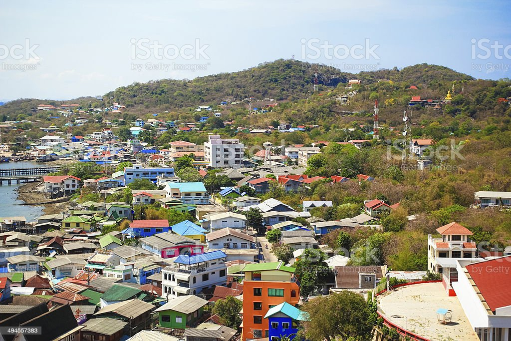 Sea and city scape view of Srichang island stock photo
