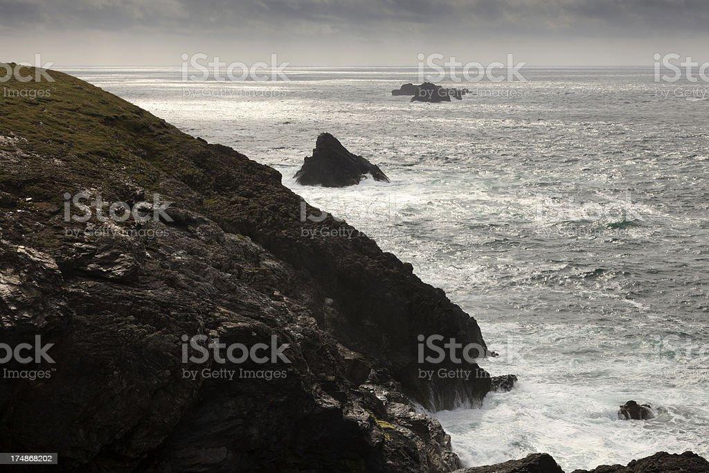 sea and cliffs at Trevose Head stock photo
