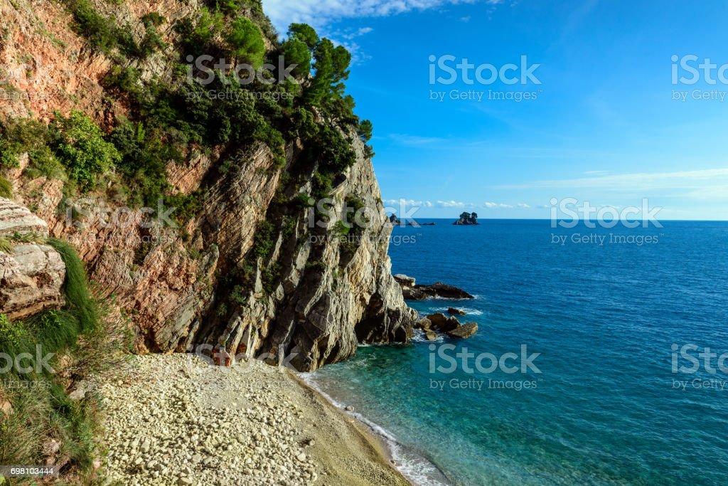 Sea and coastline landscape near Petrovac town in Montenegro stock photo