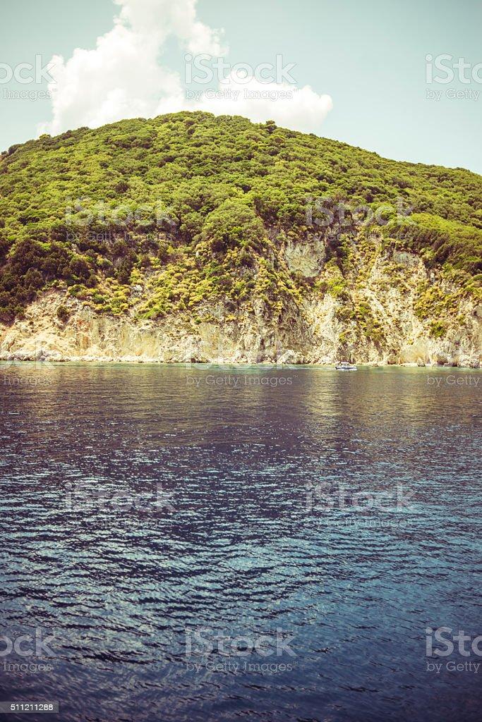 Sea and land stock photo
