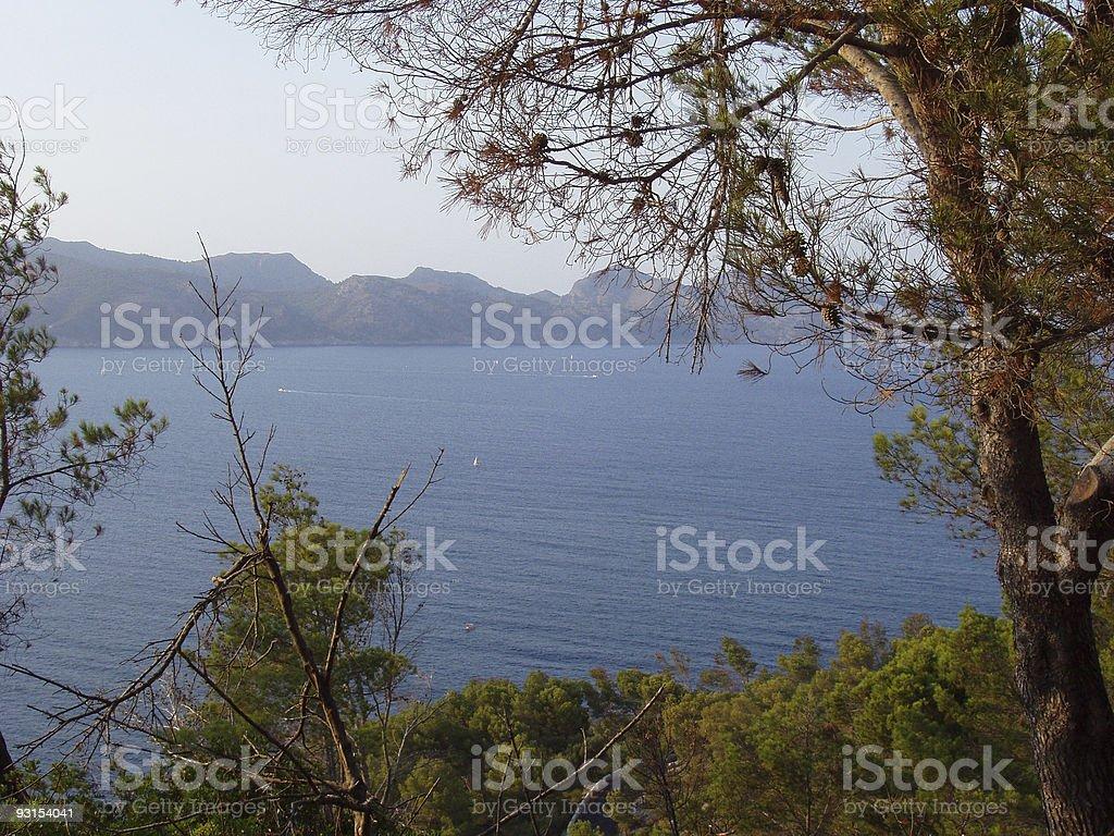 sea and mountain in mallorca stock photo