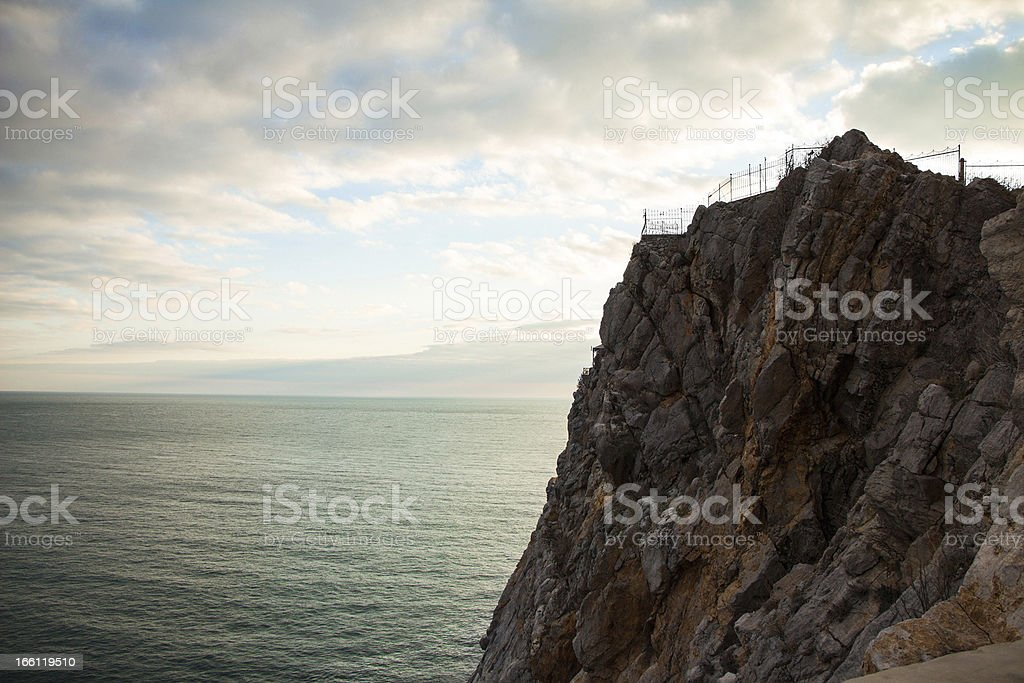 Sea and mountain in sunset royalty-free stock photo