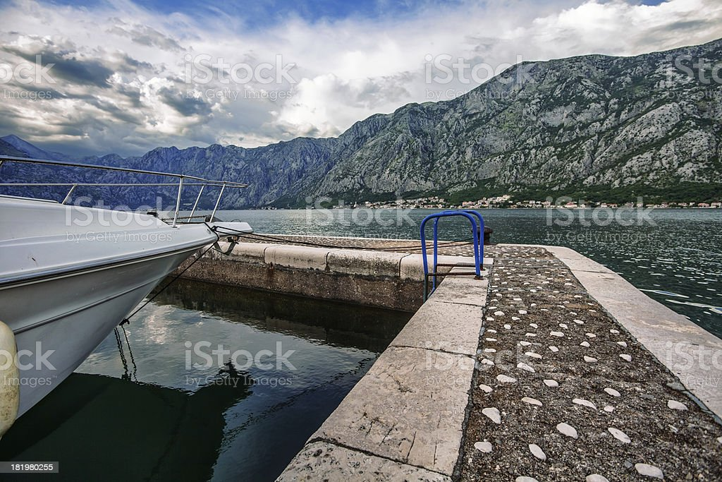 sea and mountains in bad rainy weather royalty-free stock photo