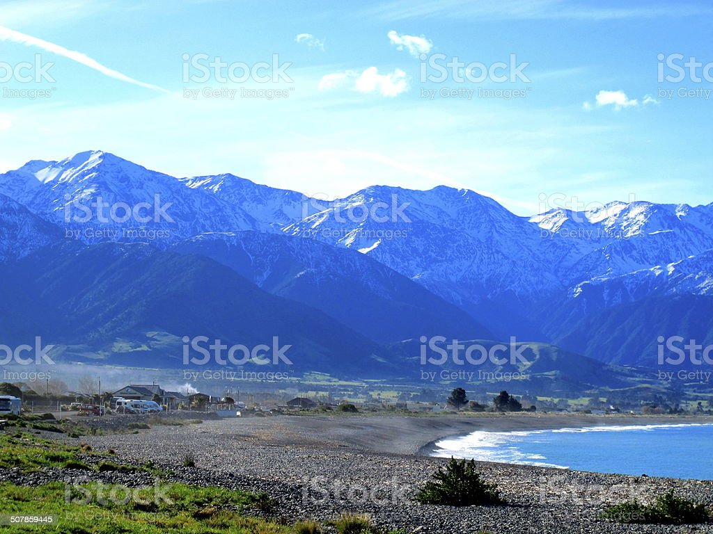 Sea and mountains in New Zealand stock photo