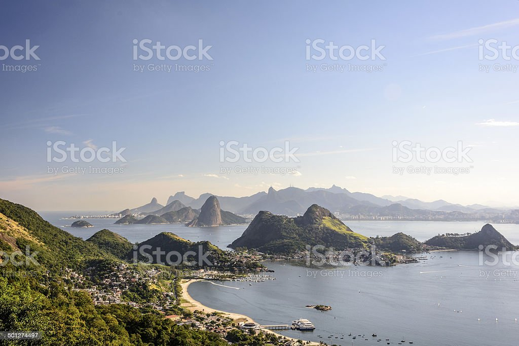 Sea and mountains of Rio de Janeiro stock photo