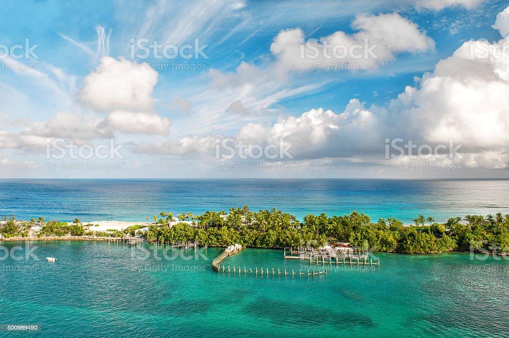 Sea and sky. Beautiful landscape Bahamas stock photo
