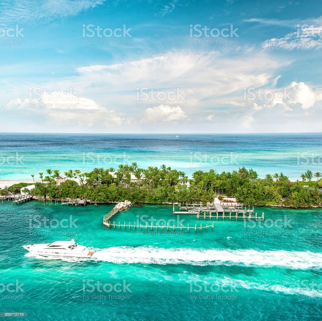 Sea and sky. Beautiful landscape Caribbean sea. Bahamas stock photo
