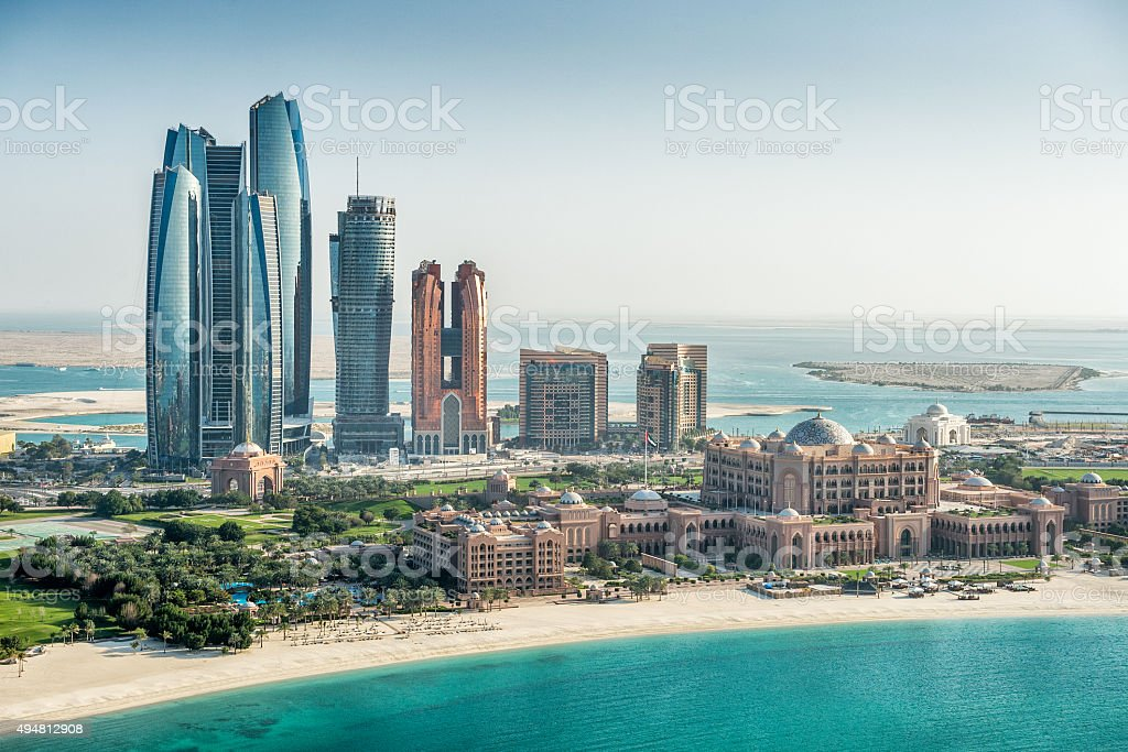 Sea and skyscrapers in Abu Dhabi stock photo