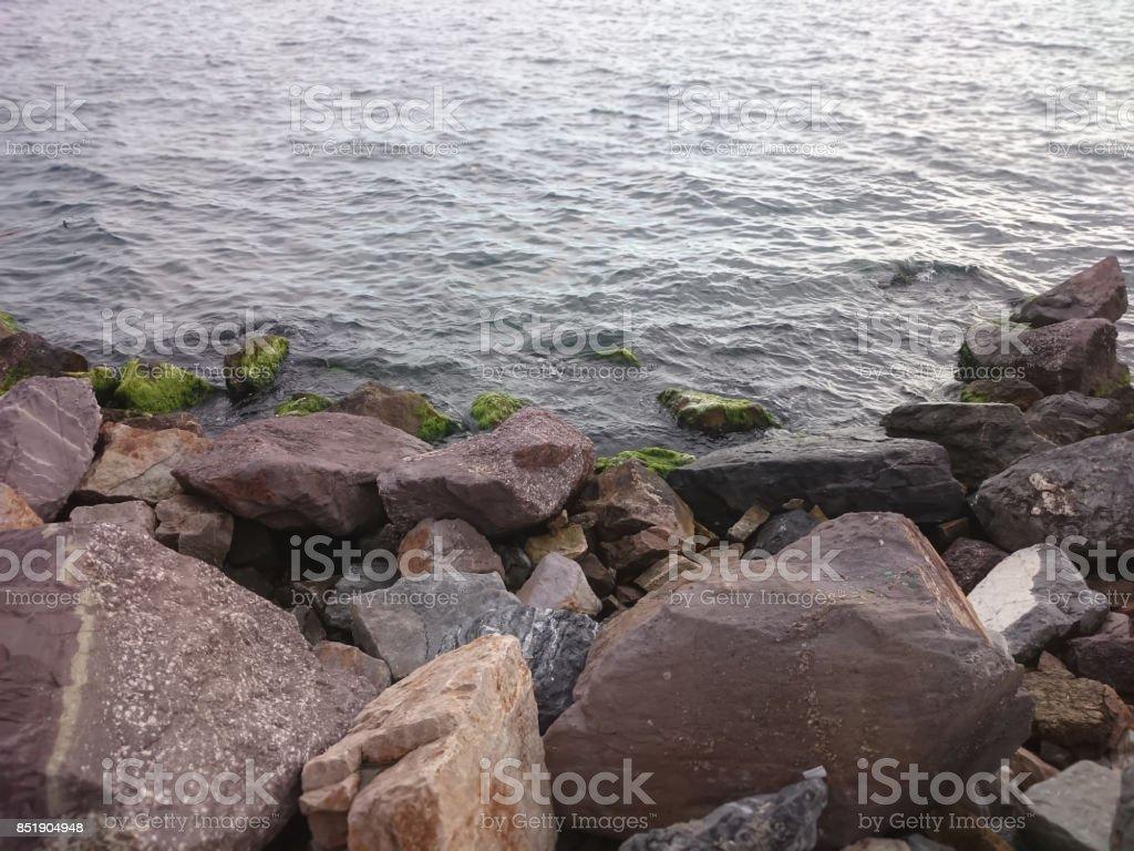 Sea and stones stock photo